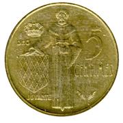 5 Centimes - Rainier III – reverse
