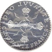 50 Francs - Rainier III (Anniversary of Reign - Essai) – reverse