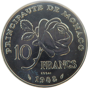 10 Francs - Rainier III (Princess Grace - Essai) – reverse