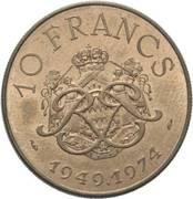 10 Francs - Rainier III (Anniversary of Reign) – reverse
