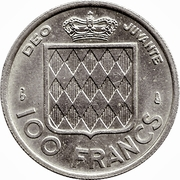 100 Francs - Rainier III – reverse