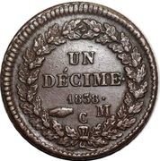 1 Decime - Honore V (knot of wreath tied) – reverse