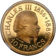 10 Francs - Rainier III (Accession of Prince Charles III - Essai) – reverse