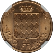 100 Francs - Rainier III (Trial Strike) – reverse