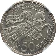 50 Francs - Rainier III (Piedfort Essai) – reverse