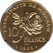 10 Francs - Rainier III (Princess Grace - Essai) – reverse