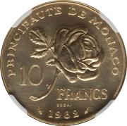 10 Francs - Rainier III (Princess Grace - Piedfort Essai) -  reverse
