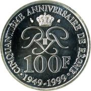 100 Francs - Rainier III (Anniversary of Reign) – reverse