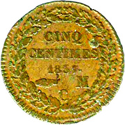 5 Centimes - Honoré V (small head) – reverse