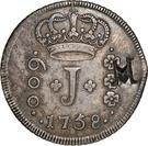 """1000 Réis - José I (Countermark """"M"""" over 600 Réis""""J""""/Brazil) – obverse"""