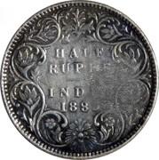 225 Réis - Luiz I (Countermark over ½ Rúpia/India,Bt) – reverse