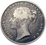100 Reis - Luis I (Countermarked over One Shilling/Victória) – obverse
