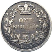 100 Reis - Luis I (Countermarked over One Shilling/Victória) – reverse