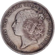 50 Réis -Luiz I (Countermarked over 6 Pence/Victoria) – obverse