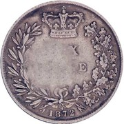 50 Réis -Luiz I (Countermarked over 6 Pence/Victoria) – reverse