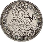 2.400 Réis - Contermark MR over 1 Thaler Austria 1704 – obverse