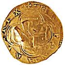 "Half ounce - José I (Countermark ""MR"" over 2 Escudos, Felipe IV, Spain) – obverse"