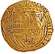 "Half ounce - José I (Countermark ""MR"" over 2 Escudos, Felipe IV, Spain) – reverse"