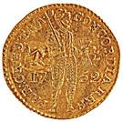 """1 Ducado - José I (Countermark MR over """"1 Ducat, Holland, 1752"""") – obverse"""