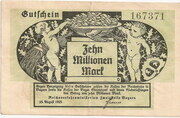 10,000,000 Mark (Reichsbahn in Bayern) – obverse