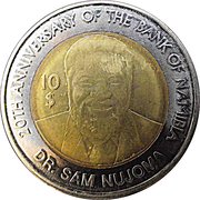 10 Dollars (20 Years Bank of Namibia) – reverse
