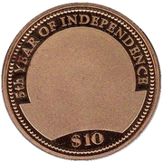 10 Dollars (5th Year of Independence) – reverse