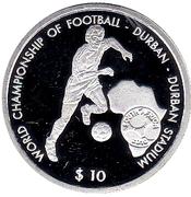 10 Dollars (World Championship of Football - Durban - Durban Stadium) – reverse
