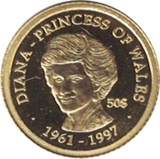 50 Dollars (10 Years Since the Death of Diana, Princess of Wales) – reverse
