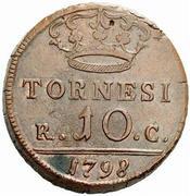 10 Tornesi - Ferdinando IV – reverse