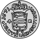 4 Rundstück - Carl XI (Without inner reverse circle) – reverse