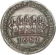1 Thaler - Johann Franz, Heinrich, Wilhelm Moritz, Heinrich Casimir and Franz Alexander  (Badehosentaler) – obverse