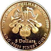 """5 Dollars - Elizabeth II (""""Philarmonic"""" Coinage) – reverse"""