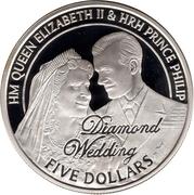 5 Dollars - Elizabeth II (Diamond Wedding; Engagement) – reverse