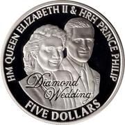 5 Dollars - Elizabeth II (Diamond Wedding; Wedding Portraits) – reverse