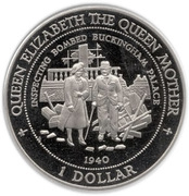 1 Dollar - Elizabeth II (Queen Mother - Bombed Palace) – reverse