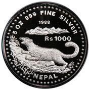 1000 Rupees - Birendra Bir Bikram (Snow Leopard) – reverse
