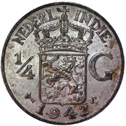 ¼ Gulden - Wilhelmina (large type, narrow rims) -  obverse