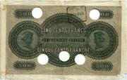 500 Francs (Banque Commerciale Neuchâteloise) – reverse