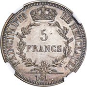 5 Francs - Alexandre Berthier (Pattern) – reverse