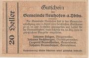 20 Heller (Neuhofen a. d. Ybbs) -  reverse