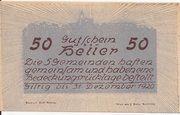 50 Heller (Neustadtl an der Donau, Nabegg, Judenhof, Windpassing, Klein Wolfstein) -  reverse