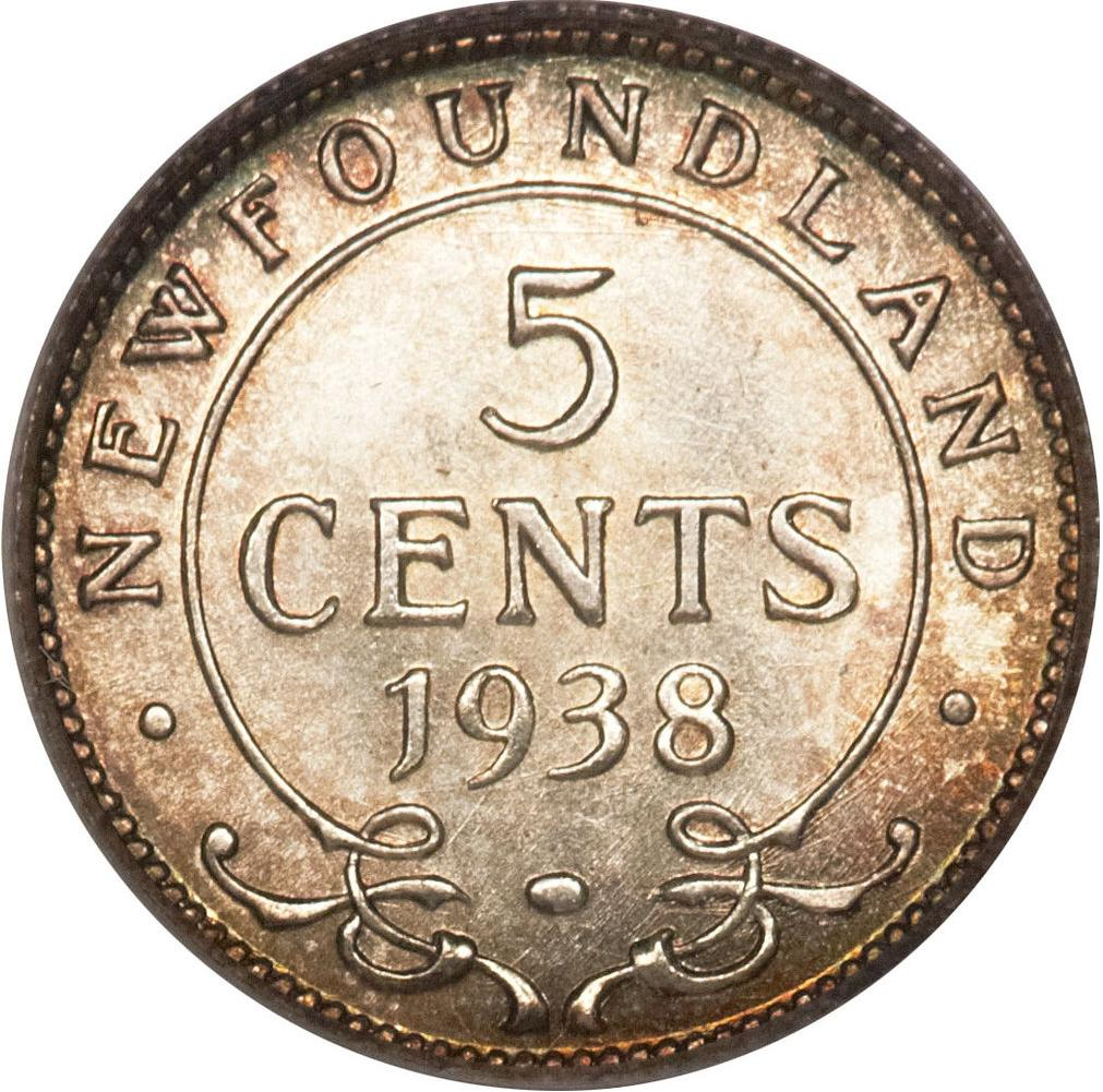 Very Fine 1943C Canada Newfoundland Silver 5 Cents