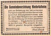 50 Heller (Niedertalheim; Lilac issue) -  reverse