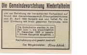20 Heller (Niedertalheim) -  reverse