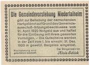 50 Heller (Niedertalheim) -  reverse