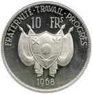 10 Francs CFA (Lion; Small type) – obverse