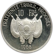 10 Francs CFA (Lion; Small type) – obverse