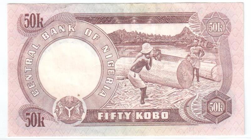 CRISP UNCIRCULATED NIGERIA 50 KOBO  BANKNOTE 1973//78