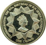 1 Crown - Elizabeth II (4th portrait; Nightingale Island; 80th Birthday) – reverse