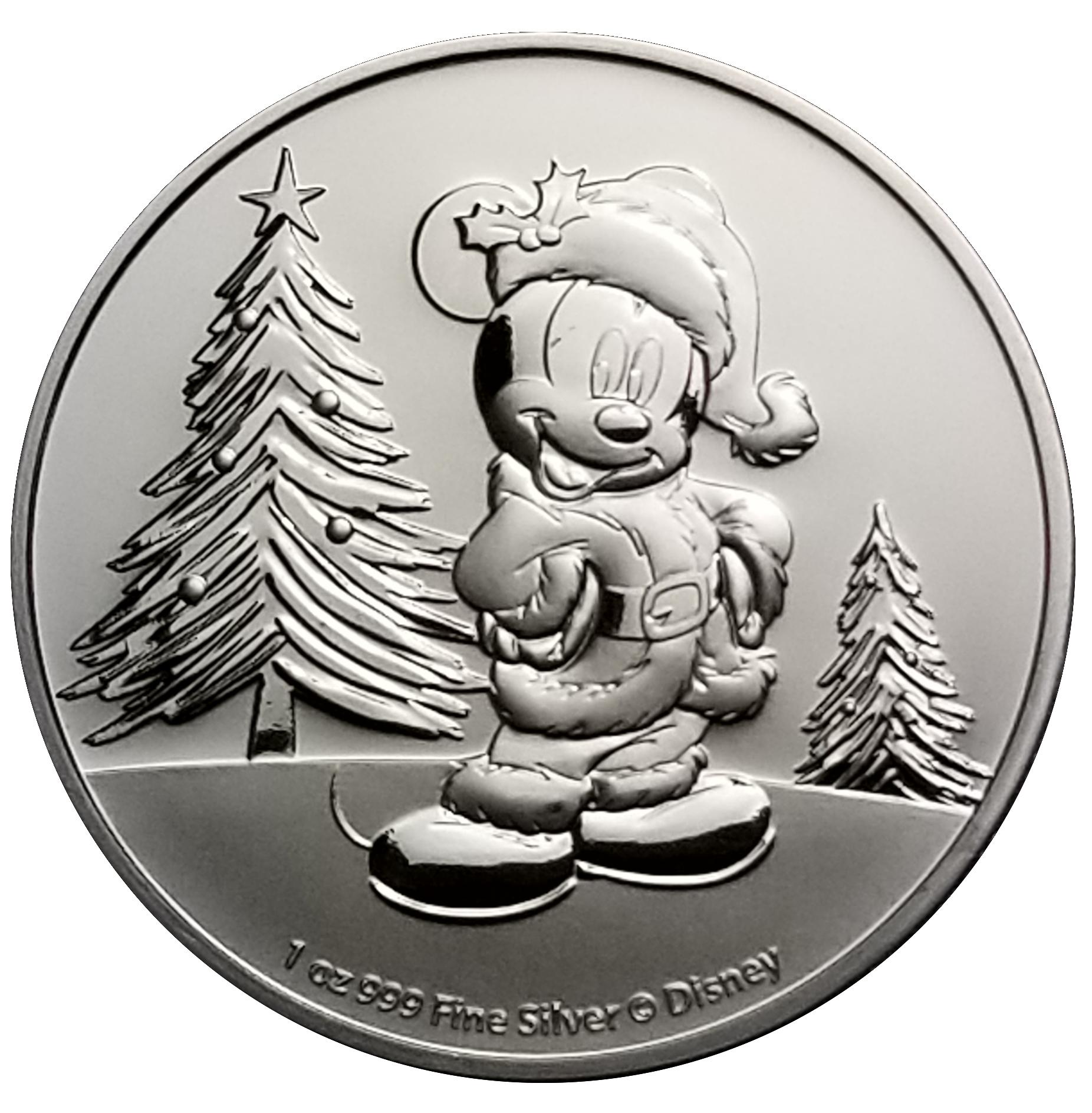 999 Silver Coin 2 dollar Niue 2019 Disney Mickey Mouse Christmas Santa 1 oz